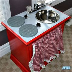 Convert old end table into a kids play kitchen. Better After blogspot