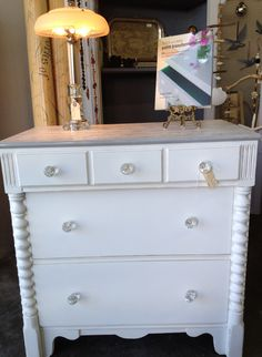 ASCP Old White with Paris Grey trim and stencil, drawers also painted inside with Paris Grey. The Painted Attic.