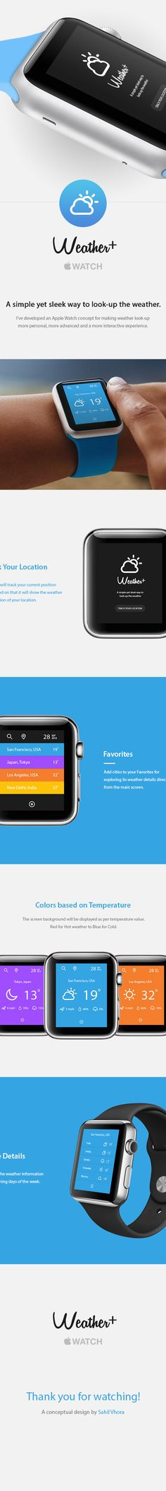 Weather+ : Apple Watch UI on Behance Mobile Ui Design, Ui Ux Design, Interface Design, Wearable Device, Wearable Technology, Apple Watch Apps, Apple Watch Accessories, Apple News, Android Wear