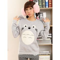 Grey jumper with sewn on Totoro face. Features soft plush inner lining and textured tummy and eyes. Also features cute stereo ears on each shoulder. #Totoro #Kawaii #Anime #Cute