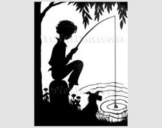 Boy Silhouette, Boy Fishing Silhouette Pattern, Cross Stitch, Needlepoint, Silhouettes, Fishing from NewYorkNeedleworks on Etsy