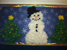 Tissue paper snowman and Christmas trees