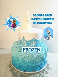 Pastel Frozen facil de hacer en chantilly