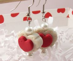 Polymer Clay Red and White Valentine Heart
