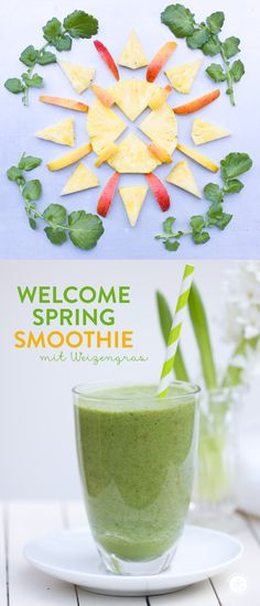 Green Welcome-Spring Smoothie: pineapple, apple, cress, wheatgrass, green tea #smoothiemontag #smoothie