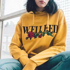 28c9d01ffd2 NEW Womens Rose Long Sleeve Hoodie Sweatshirt Jumper Hooded Pullover Tops  Blouse