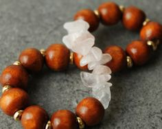 Wooden Bead Bracelet with Rose Quartz and by CrazyHeartDesignsInc, $15.00