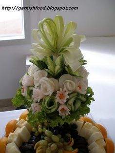 Fountain of Love Carved Fruit & Vegetable Display - Valentines Day