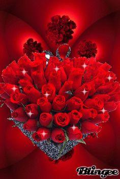 Colección de 7 Imágenes de amor de corazones y rosas con brillo y movimiento para sorprender a aquellas personas que llenan tu vida de amor y felicidad