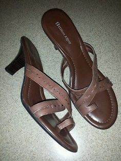 "10M Etienne Aigner Brown Leather Slide Sandal 2.5"" Heels Leather Stitch Straps"