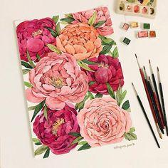 Fabric Painting, Watercolour Painting, Watercolor Flowers, Painting & Drawing, Watercolors, Polychromos, Botanical Art, Art Sketchbook, Beautiful Paintings