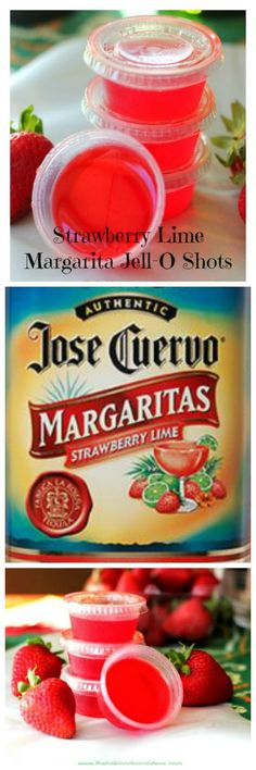 Strawberry Lime Margarita Jell-O Shots!
