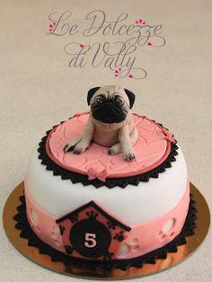 Pug cake Bithday Cake, Birthday Cake Girls, Fondant Cakes, Cupcake Cakes, Puppy Dog Cakes, Cake Designs For Kids, Pug Cake, Pugs, Love Cake