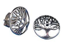 Sterling Silver Round Tree Of Life Stud Earrings Sterling Silver Jewelry, Silver Rings, Tree Of Life Jewelry, Butterfly Jewelry, Stud Earrings, Stainless Steel, Women, Stud Earring, Earring Studs