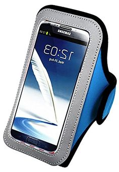"""myLife Sky Blue and Light Gray {Rain Resistant Velcro Secure Running Armband} Dual-Fit Jogging Arm Strap Holder for Samsung Galaxy Note 4 """"All Ports Accessible"""" myLife Brand Products http://www.amazon.com/dp/B00S747E8C/ref=cm_sw_r_pi_dp_BzaYub1EFH2H1"""