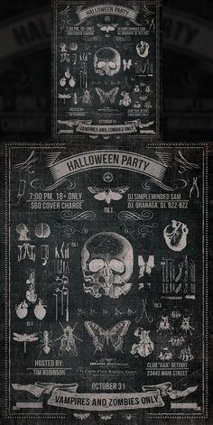 Vintage Halloween Chalk Poster. Flyer Templates. $5.00