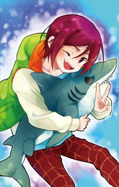 Free! : chibi Rin with shark by booombom on DeviantArt