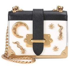 Prada Embellished Leather Shoulder Bag (6.250 RON) ❤ liked on Polyvore featuring bags, handbags, shoulder bags, white, white handbag, white leather shoulder bag, genuine leather handbags, leather shoulder handbags and prada handbags