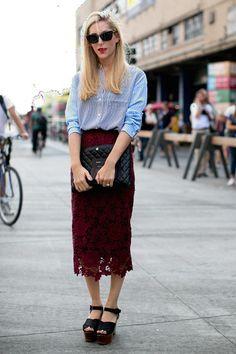 Fashion Editor Street Style: New York Fashion Week Spring 2014 - theFashionSpot New York Street Style, Nyfw Street Style, Street Style Looks, Street Styles, New York Fashion, Star Fashion, Fashion Outfits, Office Looks, Long Lace Skirt