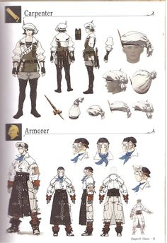 Crafter and gatherer AFs, from the Collectors Edition artbook.