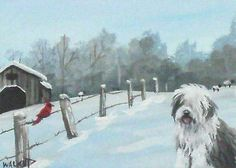 Original ACEO Old English Sheepdog Dog Farm Barn Cardinal Bird Painting Walkup