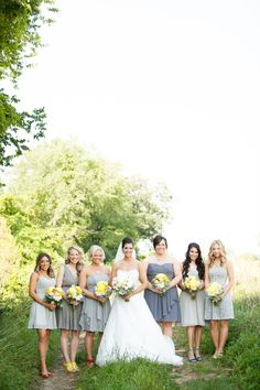 Grey bridesmaid dresses with colorful shoes // Casper Hamlet Photography