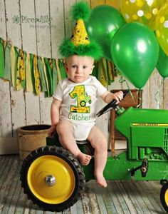 Dress your little one up in John Deere clothing for the birthday party.  See more John Deere birthday party ideas at www.one-stop-party-ideas.com
