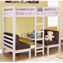 Great use of space in a child's bedroom. I love that the desk space underneath the bunk bed is open, airy and versatile--it coverts into a second twin bed if a guest sleeps over.  Love it!
