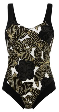 Damart Black Printed Swimsuit, reference code W807 www.damart.co.uk