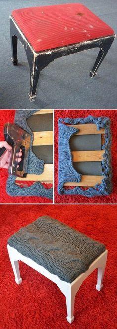 Artesanato na Pratica: Como restaurar uma banqueta usando blusa de lã
