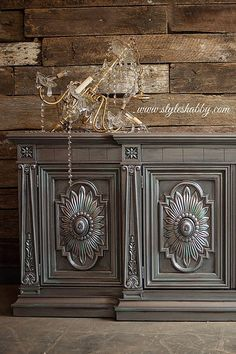 Cabinet painted in 4 shades of Modern Masters Metallic paints