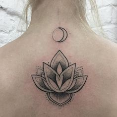 Lotus and crescent moon tattoo