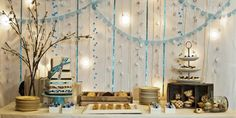 Wedding dessert table.  Rustic and soft, vintage feel. I would have different colors and would not have Cake, since I don't eat cake
