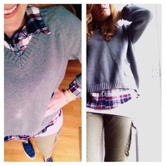 Preppy meets punk! Plaid shirt, sweater, cargos, and sneakers are a great combo for a more comfortable day. I paired my navy Chuck Taylors and olive cargo pants with an oversized gray sweater and...