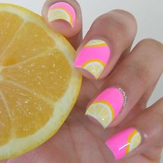 "Pink lemonade nailsColors used: LVX-""Lemon Drop"", @orlynails-""Out-Take"", @essiepolish-""Blanc"", and Wet n Wild-""D'oh!/Oups!"" (Only 3 days left for a chance to WIN 100 ESSIE POLISHES!! Make sure you click the link and vote for me to be entered!"