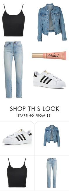 """Kristen hancher"" by dana-ness ❤ liked on Polyvore featuring adidas, Topshop, Yves Saint Laurent and Too Faced Cosmetics"