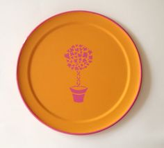 pink topiary orange round  tray by sarahhansenannapolis on Etsy, $38.00