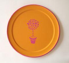 pink topiary orange round  tray by sarahhansenannapolis on Etsy, $38.00
