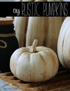 """DIY Rustic Pumpkins: """"She took faux orange pumpkins and made them into these beautiful rustic pumpkins! So pretty - and updated! Fake Pumpkins, White Pumpkins, Rustic Fall Decor, Fall Home Decor, Rustic Mantel, Holiday Decor, Farmhouse Halloween, Halloween Diy, Thanksgiving Decorations"""
