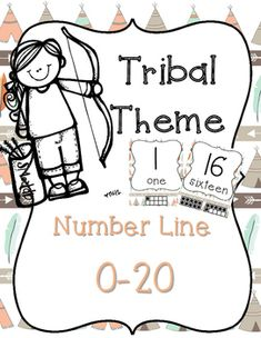 Tribal Theme Number Line 0-20 Teepee and Arrow Print- Arrows, Rustic, Camping Classroom