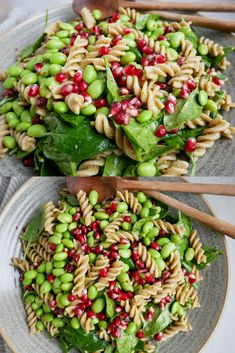 Pasta salad with green pesto - An easy recipe for the best pasta salad with green pesto, edamame beans and crispy pomegranate seed - Healthy Eating Habits, Healthy Meal Prep, Healthy Snacks, Mustard Vinaigrette Recipe, Best Pasta Salad, Vegetarian Recipes, Healthy Recipes, Food Goals, Food Inspiration
