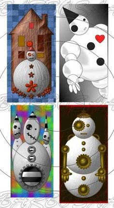 unique steampunk snowman images for scrapbook and jewelry making