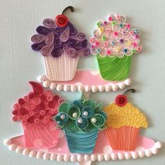 Go ahead.have a cupcakeHand crafted artwork for sale. If interested please contact me at quilling_in_harmo. Quilling Cake, Paper Quilling Cards, Arte Quilling, Paper Quilling Tutorial, Origami And Quilling, Quilled Paper Art, Paper Quilling Designs, Free Quilling Patterns, Paper Quilling For Beginners