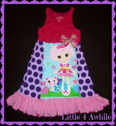 Girls Dress Lalaloopsy Upcycle Dress Ready to by Little4Awhile, $65.00