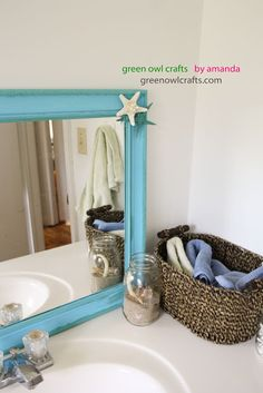 green owl crafts: Beach Bathroom Thrift Store Mirror Makeover