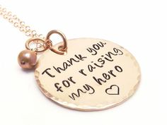 """Personalized 1"""" 14K Rose Gold Filled Necklace- Wedding, Mother in Law Jewelry, Thank You For Raising My Hero, The Man of My Dreams, Military by MissAshleyJewelry on Etsy https://www.etsy.com/listing/176105172/personalized-1-14k-rose-gold-filled"""