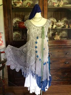 Luv Lucy Crochet Dress Lucy's Grey Skies  by TheVintageRaven, $195.00