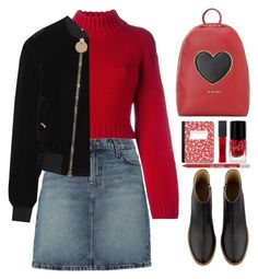"""""""Untitled #553"""" by jovana-p-com ❤ liked on Polyvore featuring DKNY, Love Moschino, A.P.C., Urban Decay, Maybelline, White Label, Current/Elliott and Givenchy"""