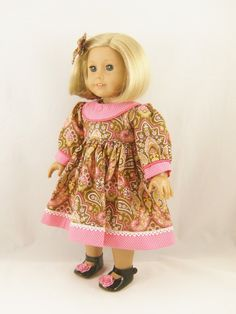 Fall Dress For American Girl Doll and Other 18 Inch Dolls Long Sleeved Olive Green Pink Paisley and Dots Pattern Dress Matching Hair Bow