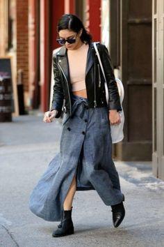 Vanessa Hudgens wearing AllSaints Kiss Tassel Boots, Elliott Label Motorcycle Jacket and Marissa Webb Chambray Sailor Maxi Skirt